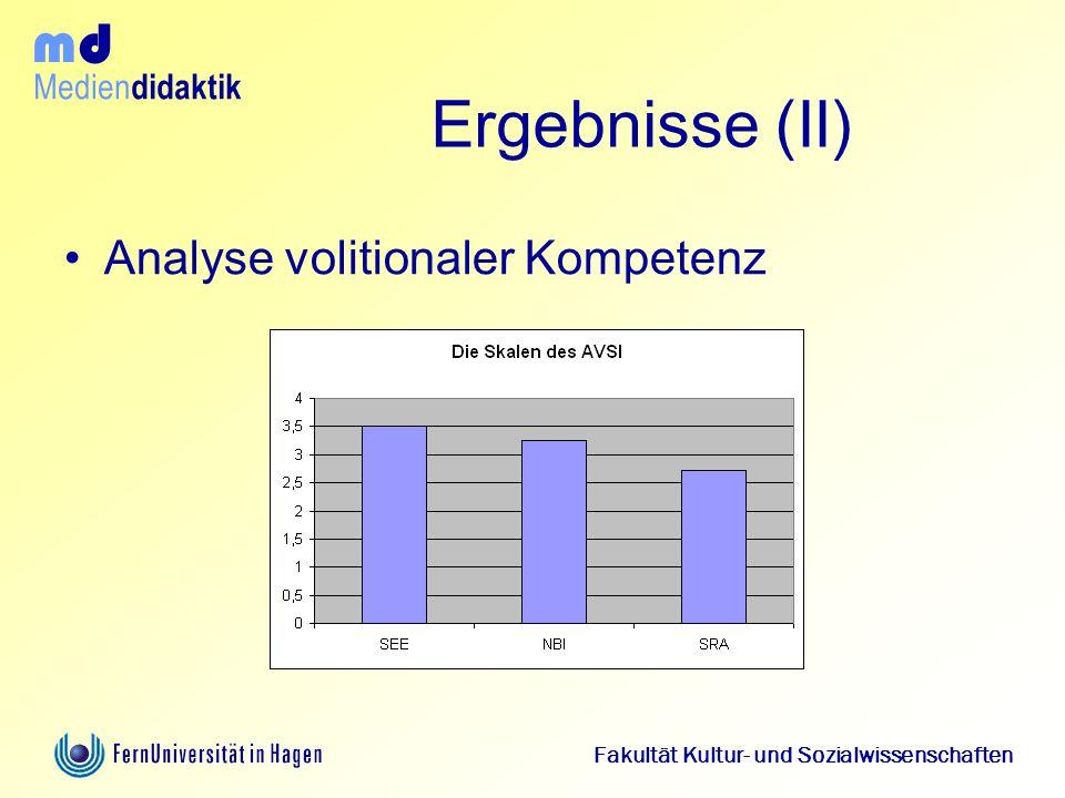 Ergebnisse (II) Analyse volitionaler Kompetenz