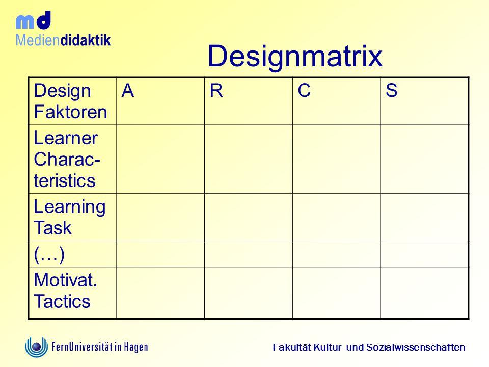 Designmatrix Design Faktoren A R C S Learner Charac- teristics
