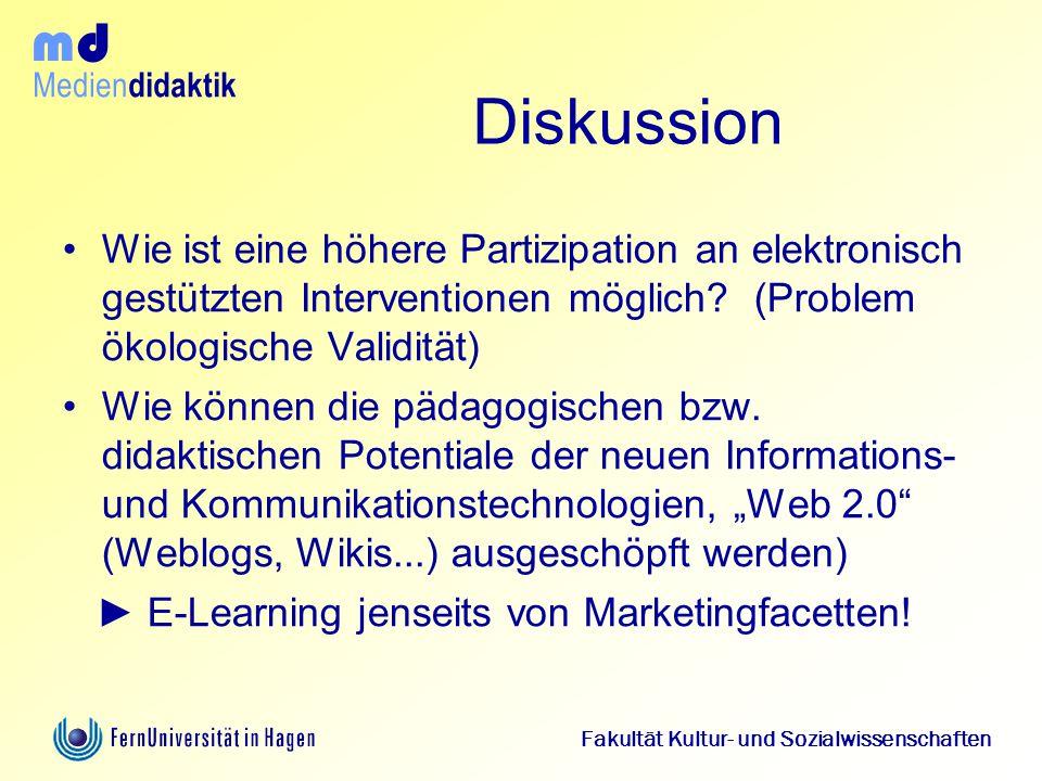 Diskussion Wie ist eine höhere Partizipation an elektronisch gestützten Interventionen möglich (Problem ökologische Validität)