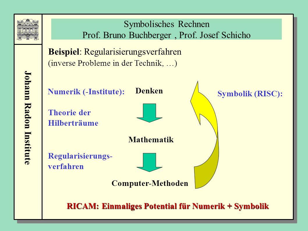 Symbolisches Rechnen Prof. Bruno Buchberger , Prof. Josef Schicho