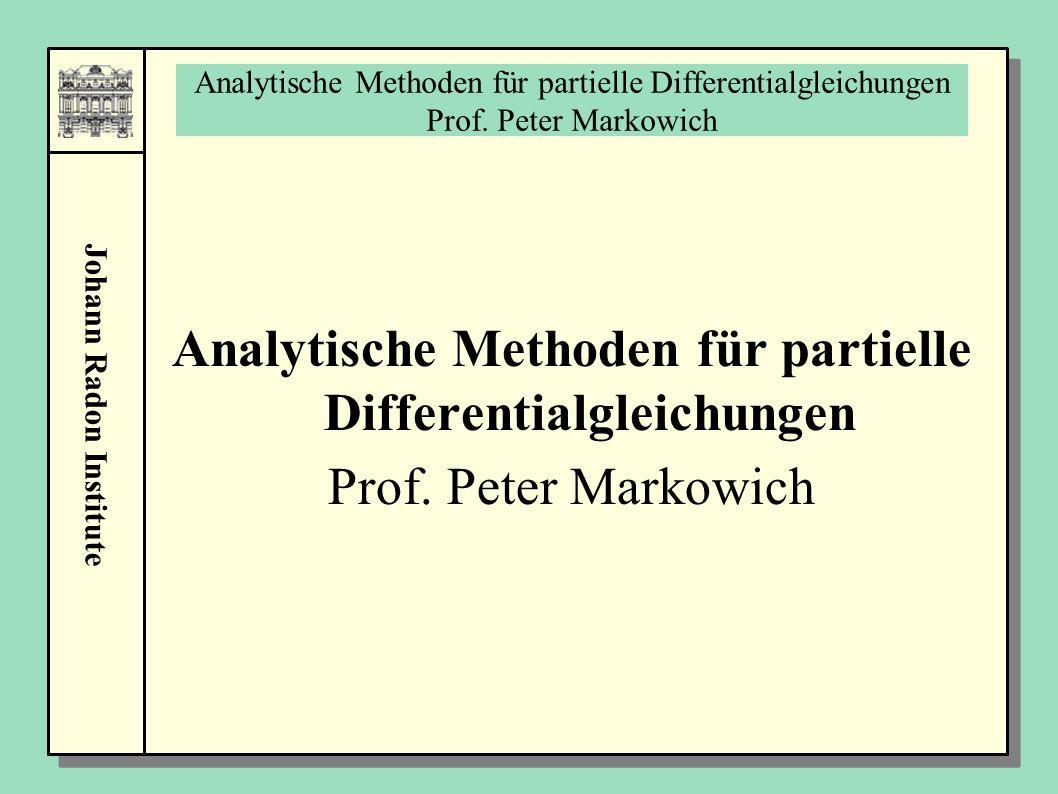 Analytische Methoden für partielle Differentialgleichungen