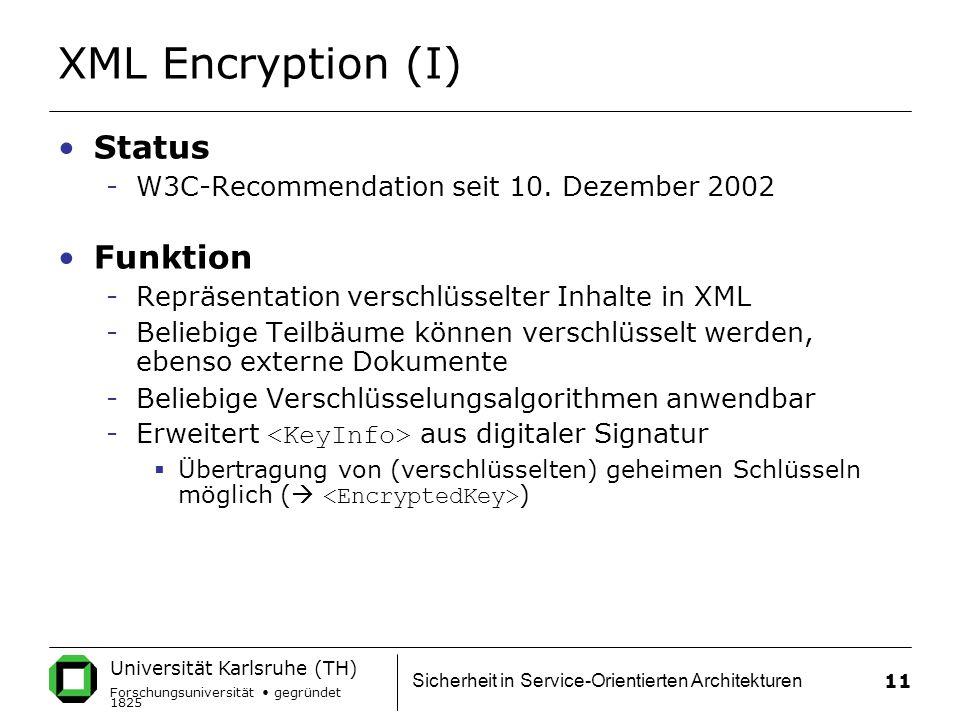 XML Encryption (I) Status Funktion