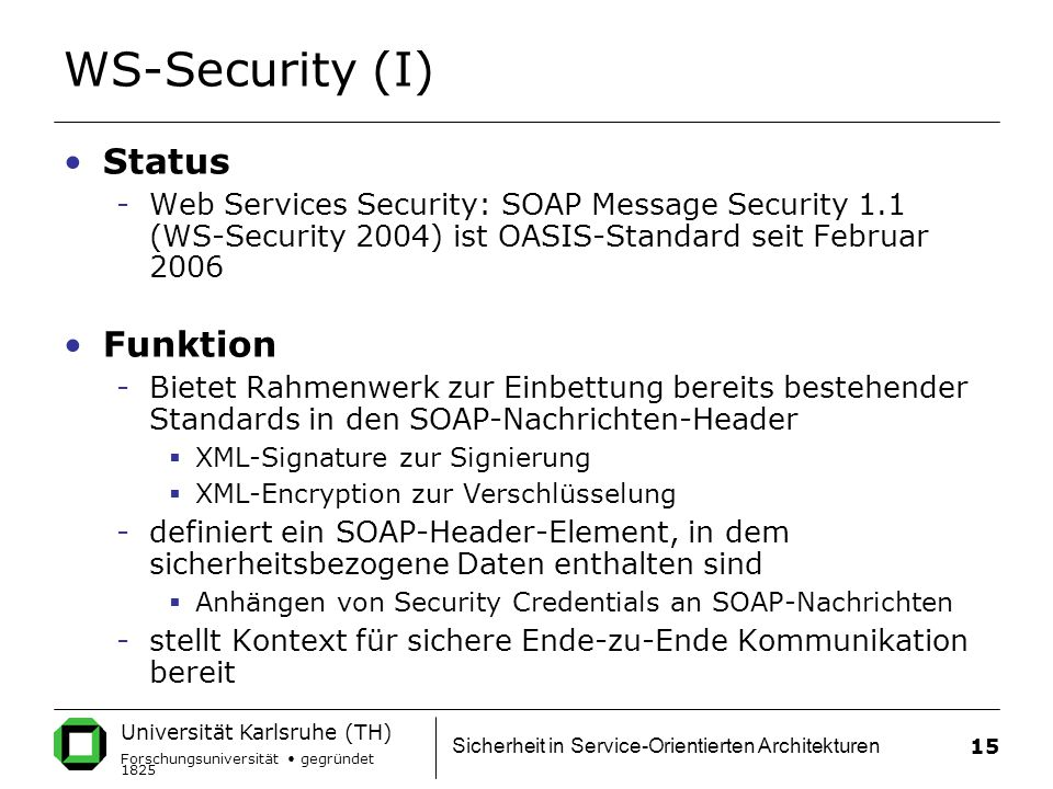 WS-Security (I) Status Funktion