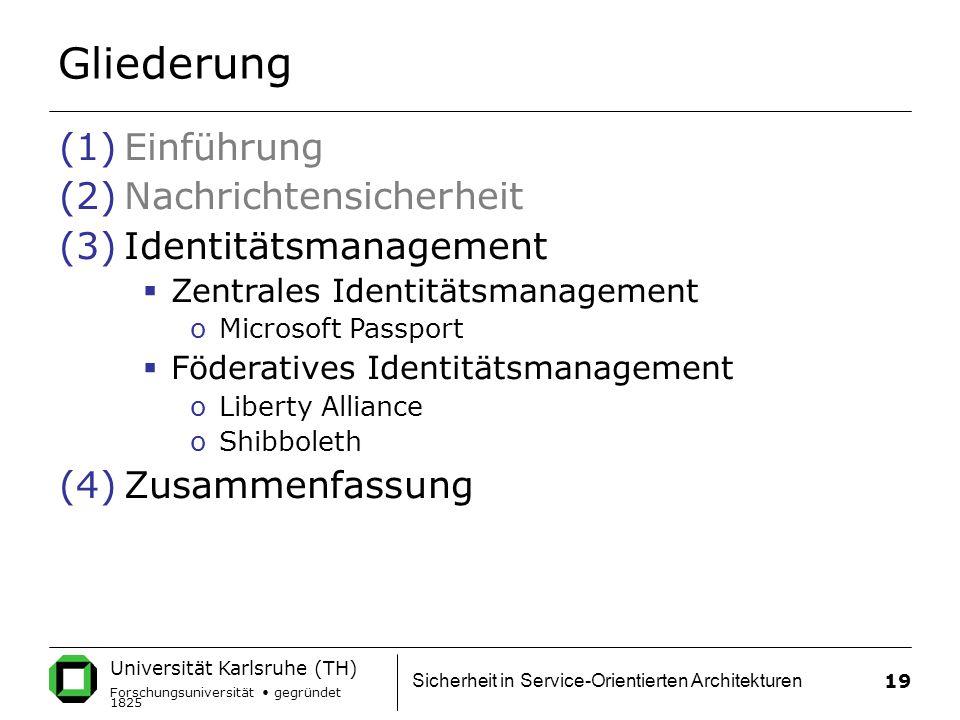 Gliederung Einführung Nachrichtensicherheit Identitätsmanagement