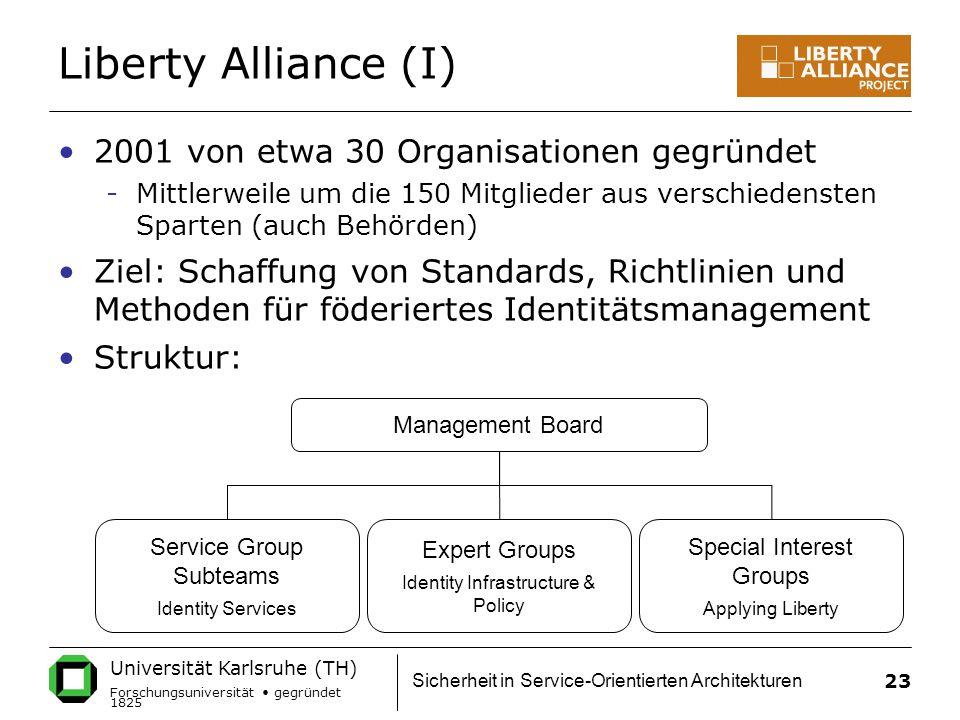 Liberty Alliance (I) 2001 von etwa 30 Organisationen gegründet