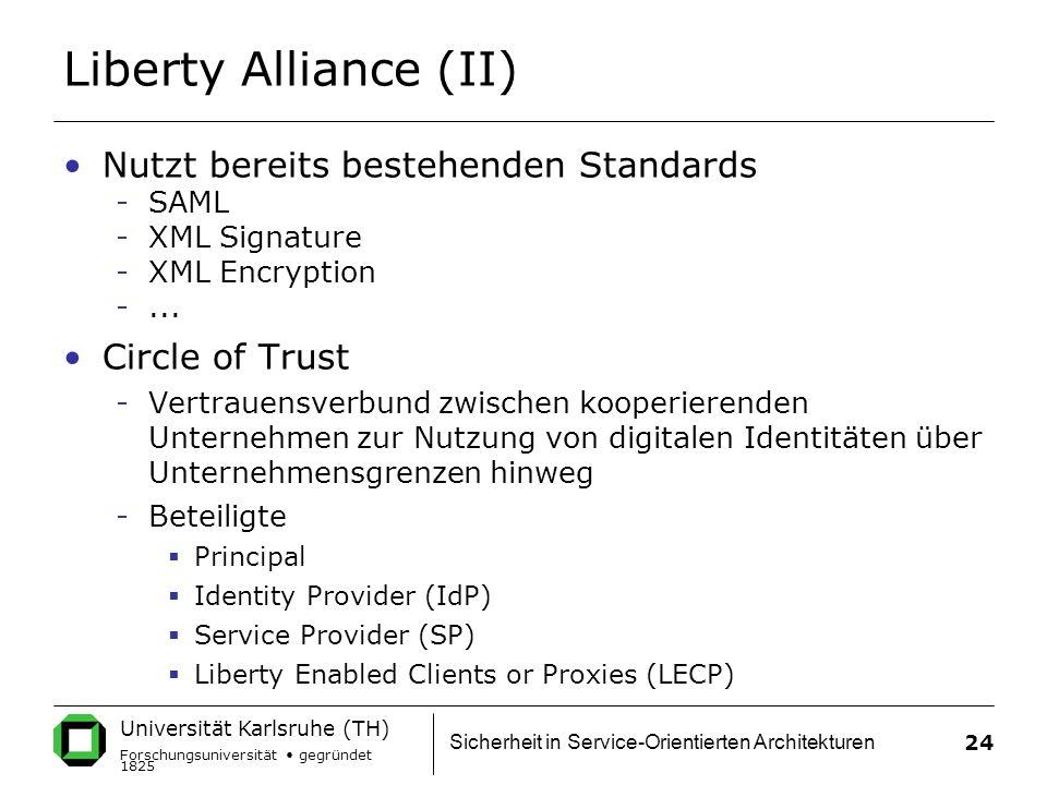 Liberty Alliance (II) Nutzt bereits bestehenden Standards