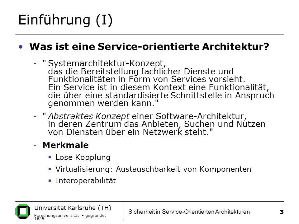 Einführung (I) Was ist eine Service-orientierte Architektur