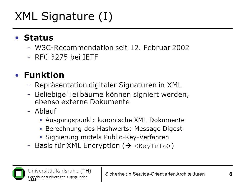 XML Signature (I) Status Funktion
