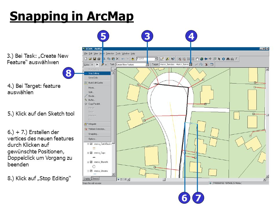 "Snapping in ArcMap 5. 3. 4. 3.) Bei Task: ""Create New Feature auswählwen. 8. 4.) Bei Target: feature auswählen."