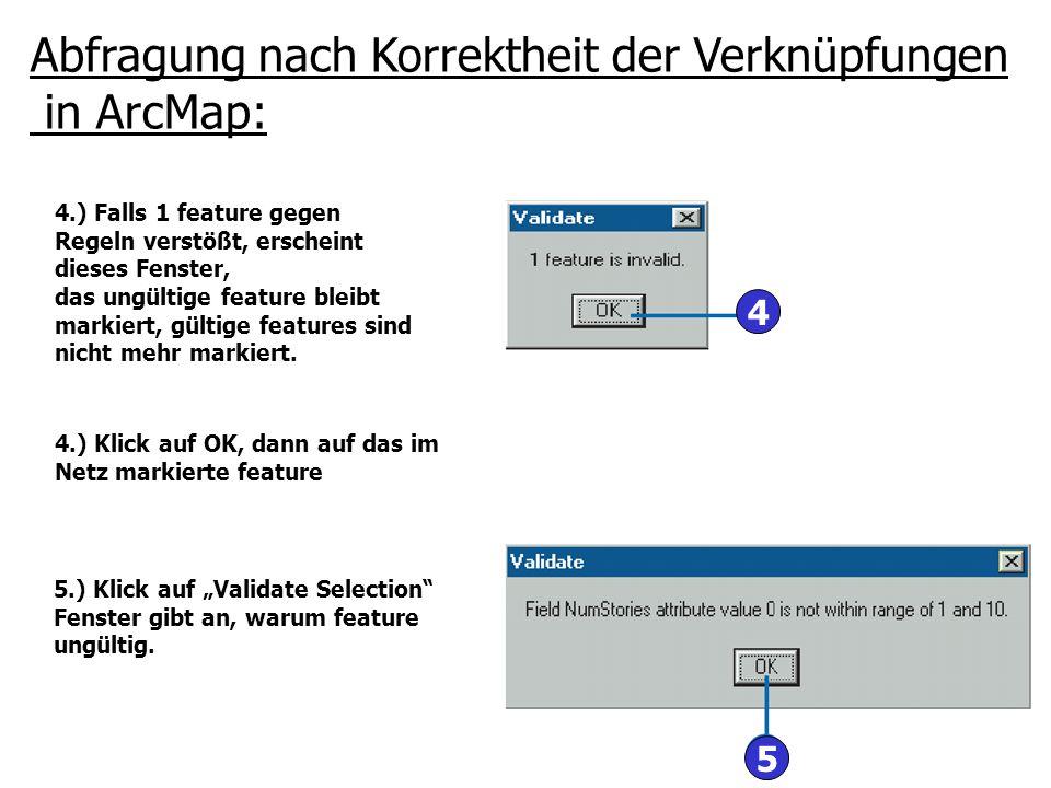 Abfragung nach Korrektheit der Verknüpfungen in ArcMap:
