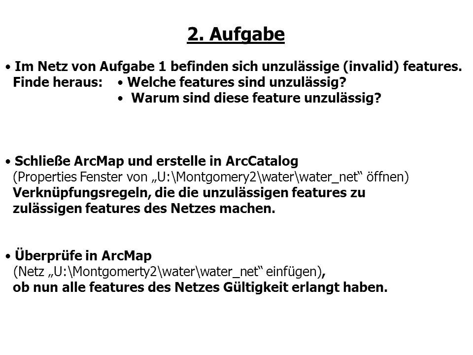 2. Aufgabe Im Netz von Aufgabe 1 befinden sich unzulässige (invalid) features. Finde heraus: Schließe ArcMap und erstelle in ArcCatalog.