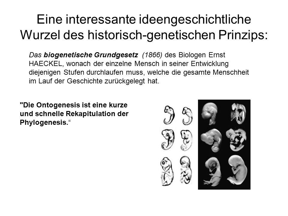 Eine interessante ideengeschichtliche Wurzel des historisch-genetischen Prinzips: