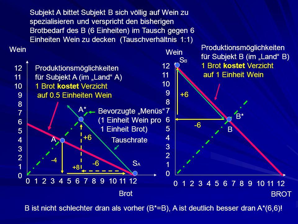 """Produktionsmöglichkeiten für Subjekt B (im """"Land B)"""