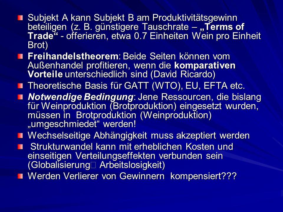 Subjekt A kann Subjekt B am Produktivitätsgewinn beteiligen (z. B