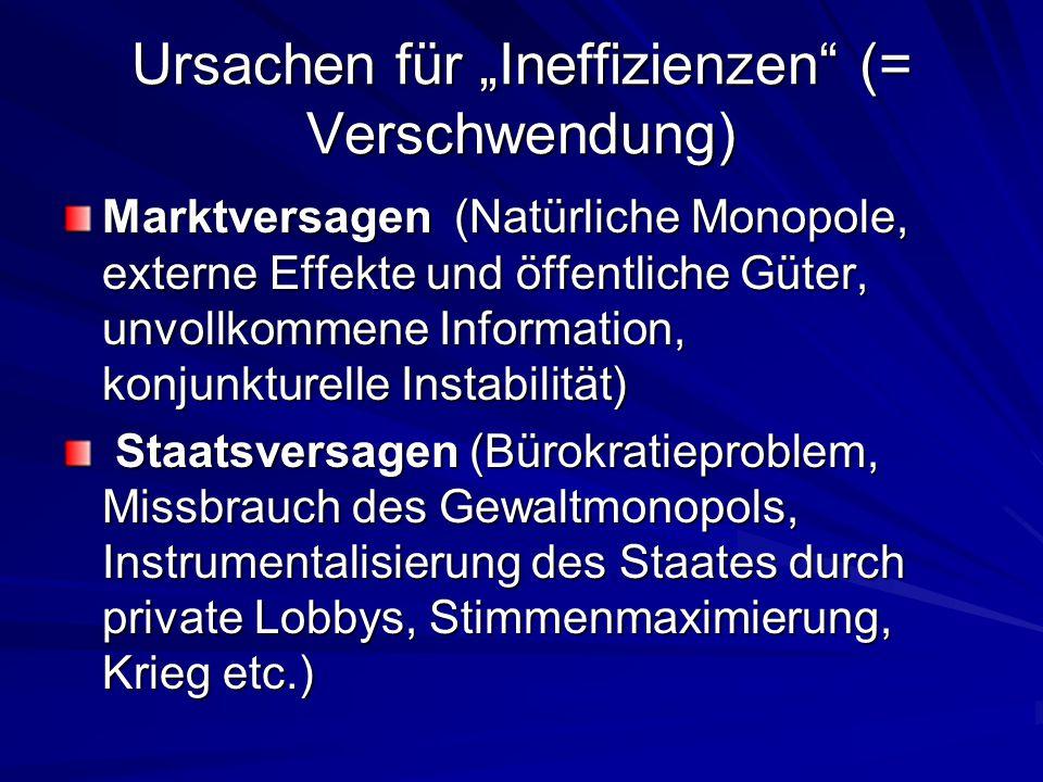 """Ursachen für """"Ineffizienzen (= Verschwendung)"""