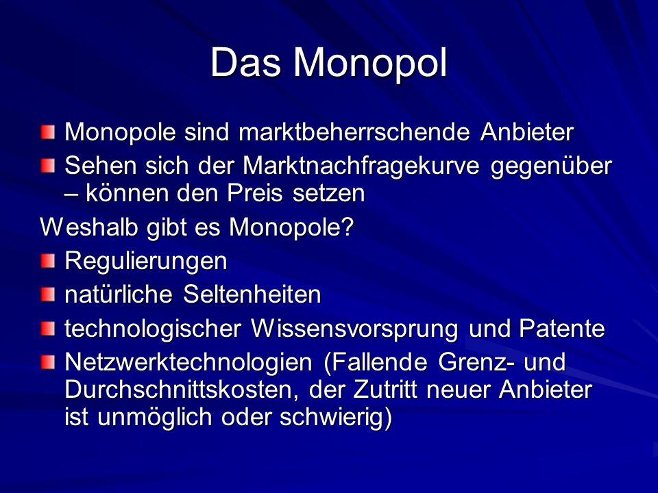 Das Monopol Monopole sind marktbeherrschende Anbieter