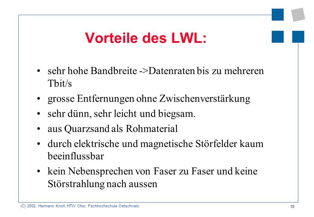 Vorteile des LWL: sehr hohe Bandbreite ->Datenraten bis zu mehreren Tbit/s. grosse Entfernungen ohne Zwischenverstärkung.