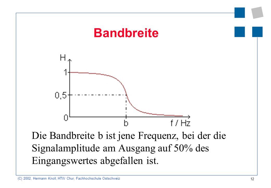 Bandbreite Die Bandbreite b ist jene Frequenz, bei der die Signalamplitude am Ausgang auf 50% des Eingangswertes abgefallen ist.