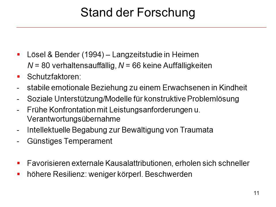 Stand der Forschung Lösel & Bender (1994) – Langzeitstudie in Heimen