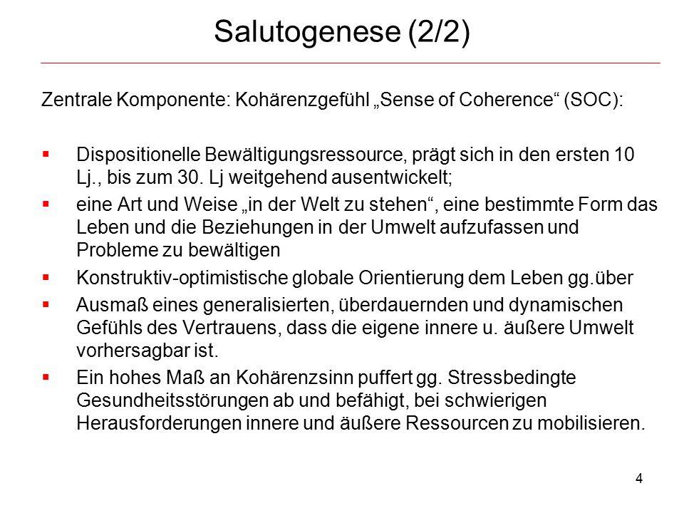 "Salutogenese (2/2) Zentrale Komponente: Kohärenzgefühl ""Sense of Coherence (SOC):"