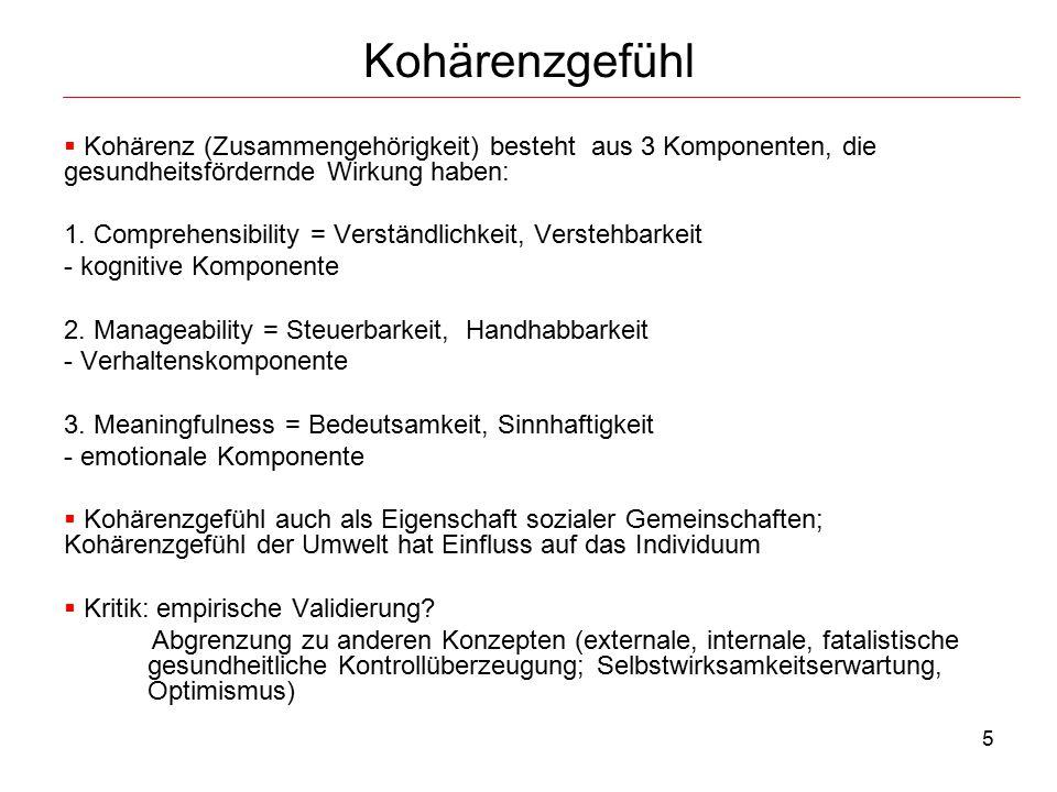 Kohärenzgefühl Kohärenz (Zusammengehörigkeit) besteht aus 3 Komponenten, die gesundheitsfördernde Wirkung haben: