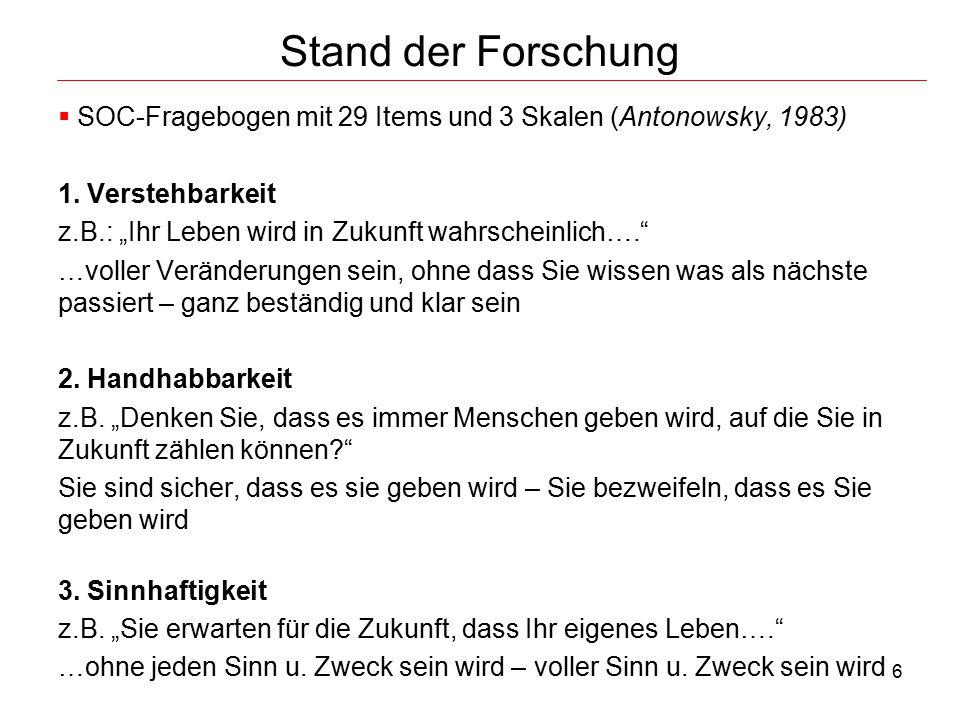 Stand der Forschung SOC-Fragebogen mit 29 Items und 3 Skalen (Antonowsky, 1983) 1. Verstehbarkeit.