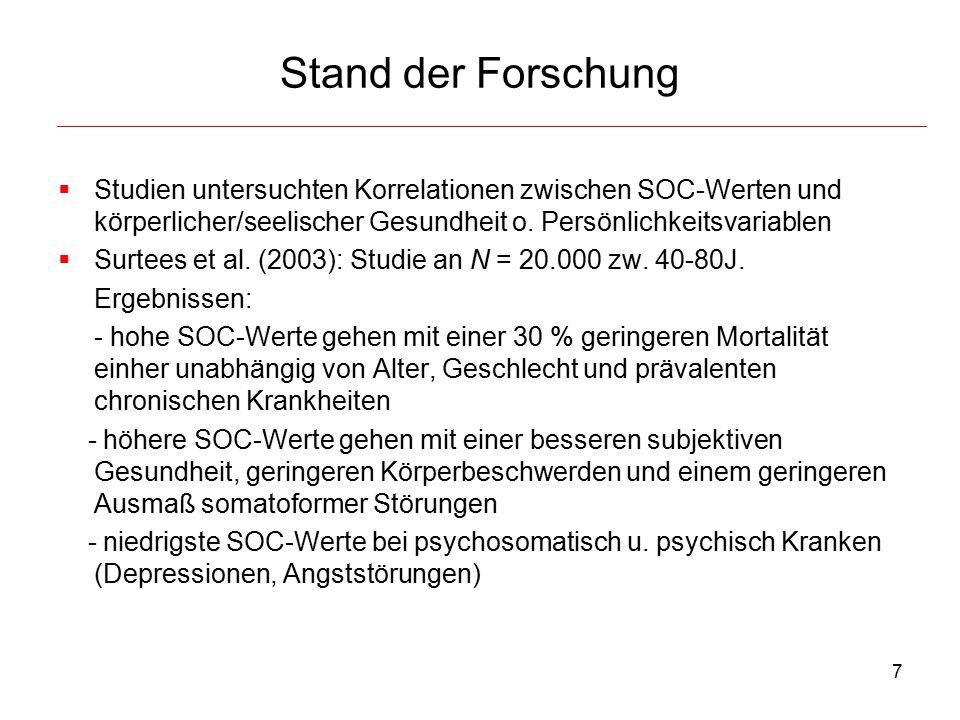 Stand der Forschung Studien untersuchten Korrelationen zwischen SOC-Werten und körperlicher/seelischer Gesundheit o. Persönlichkeitsvariablen.