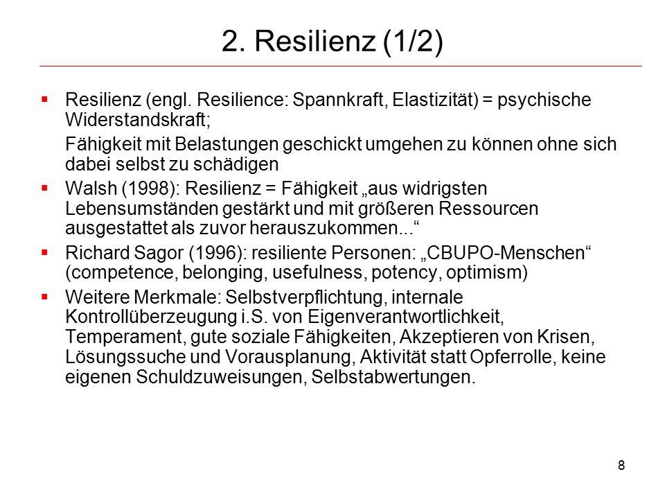 2. Resilienz (1/2) Resilienz (engl. Resilience: Spannkraft, Elastizität) = psychische Widerstandskraft;