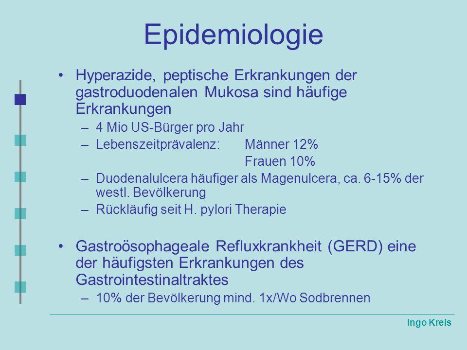 Epidemiologie Hyperazide, peptische Erkrankungen der gastroduodenalen Mukosa sind häufige Erkrankungen.