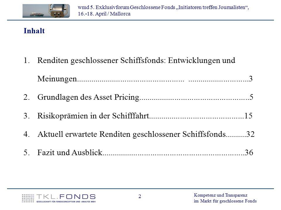 Aktuell erwartete Renditen geschlossener Schiffsfonds..........32