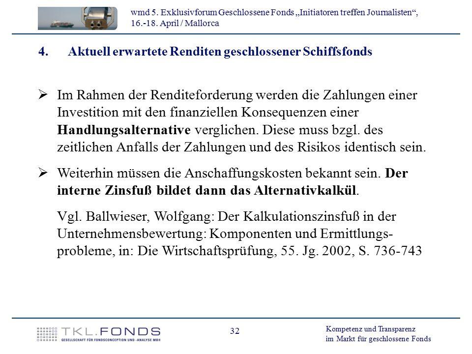 4. Aktuell erwartete Renditen geschlossener Schiffsfonds