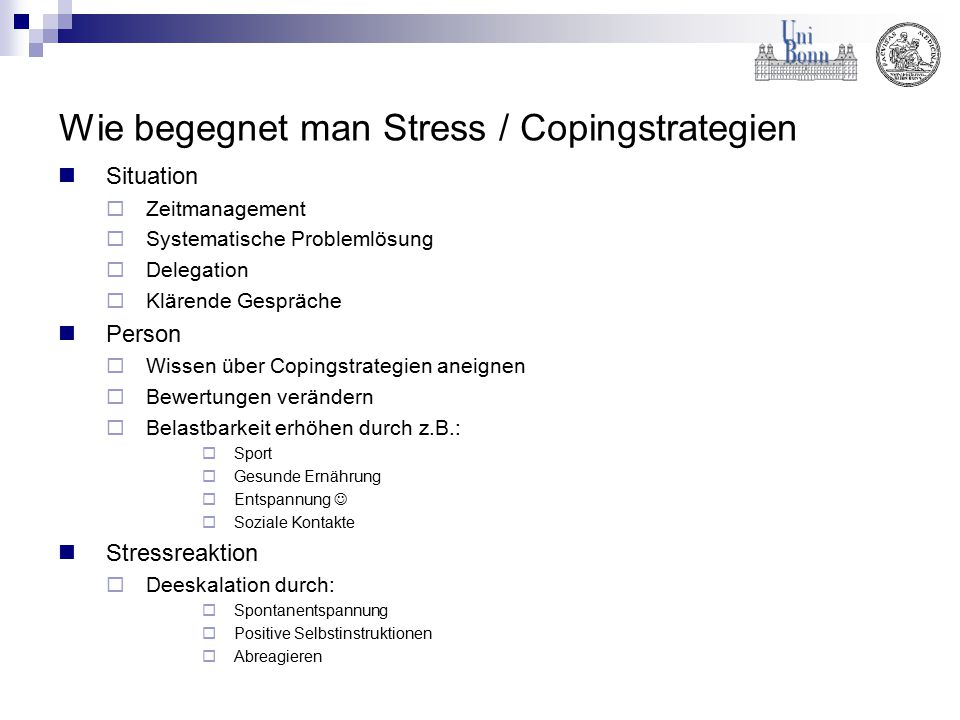 Wie begegnet man Stress / Copingstrategien