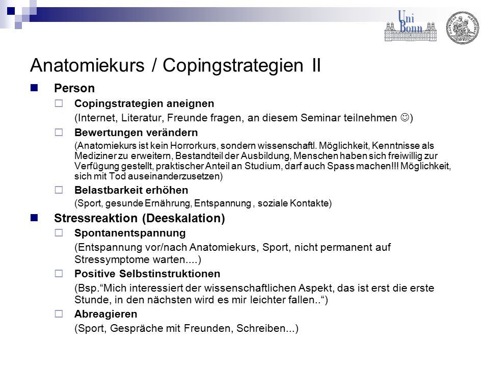 Anatomiekurs / Copingstrategien II