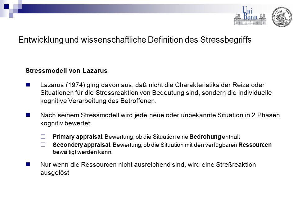 Entwicklung und wissenschaftliche Definition des Stressbegriffs