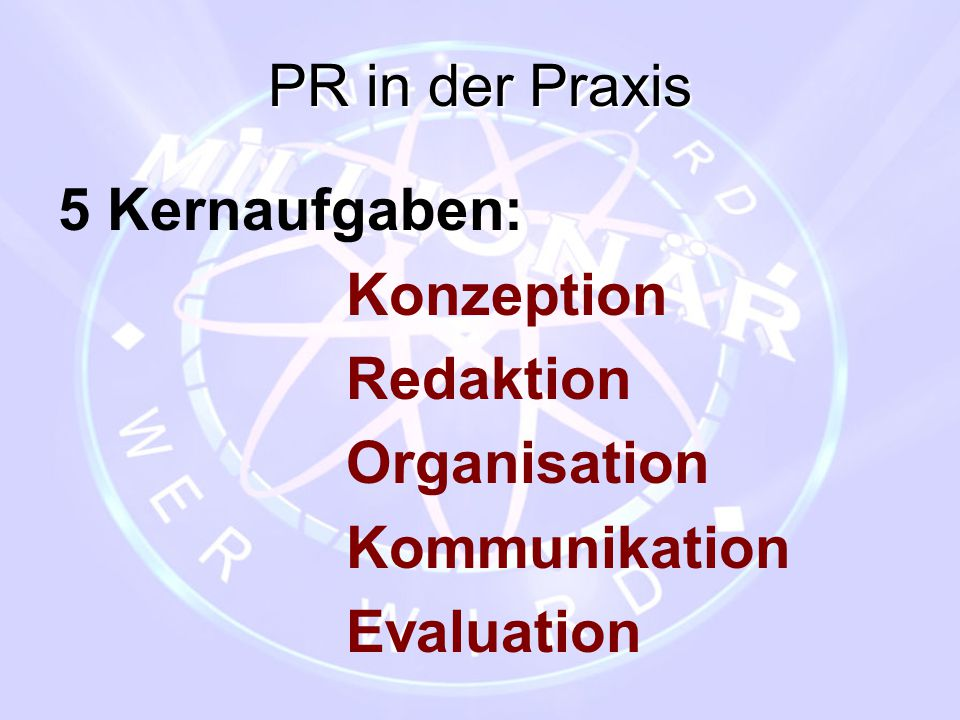 PR in der Praxis 5 Kernaufgaben: Konzeption Redaktion Organisation Kommunikation Evaluation