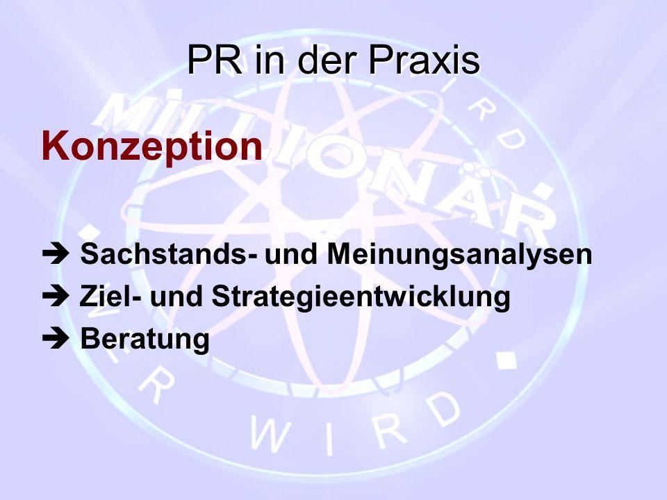 PR in der Praxis Konzeption  Sachstands- und Meinungsanalysen