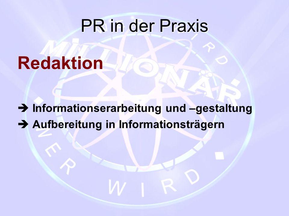 PR in der Praxis Redaktion  Informationserarbeitung und –gestaltung