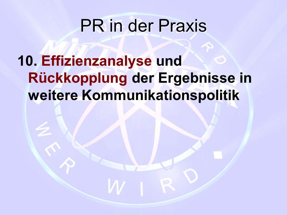 PR in der Praxis 10. Effizienzanalyse und Rückkopplung der Ergebnisse in weitere Kommunikationspolitik.