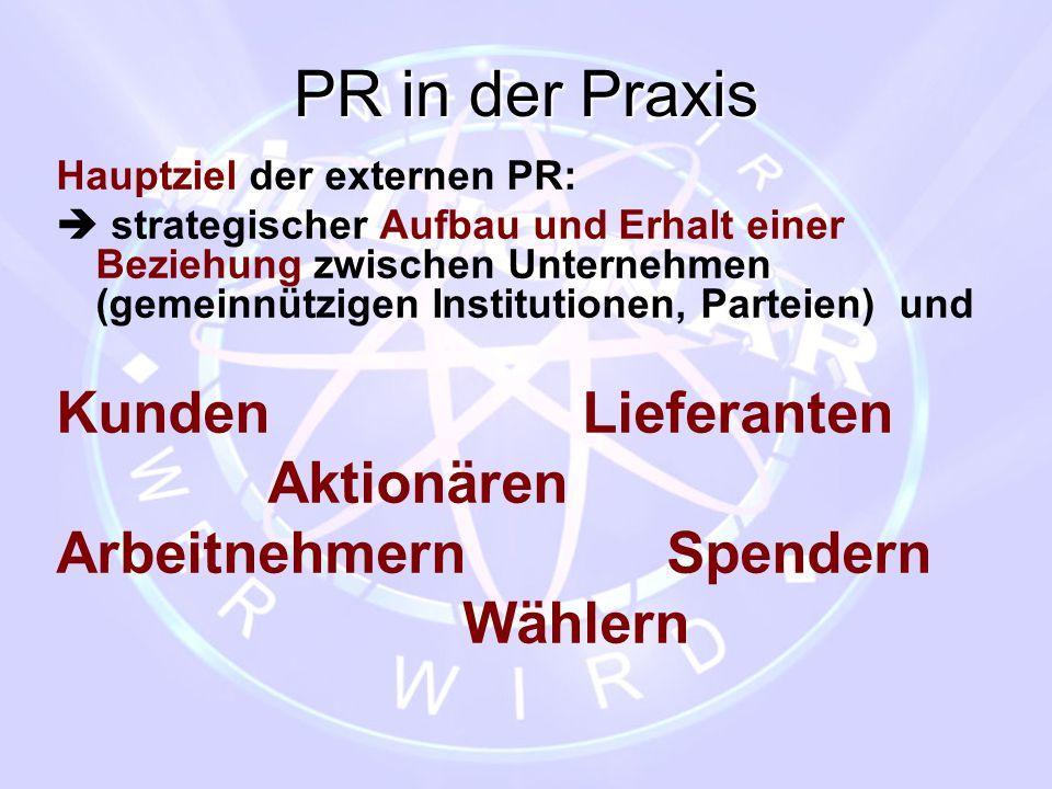 PR in der Praxis Kunden Lieferanten Aktionären Arbeitnehmern Spendern