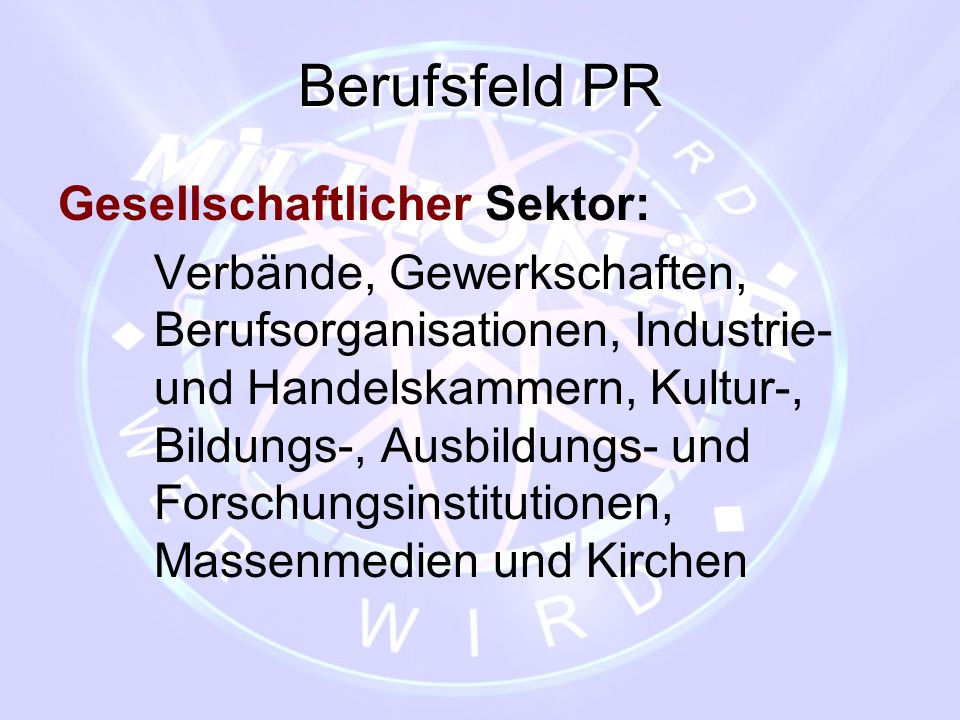 Berufsfeld PR Gesellschaftlicher Sektor: