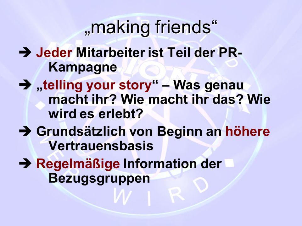 """""""making friends  Jeder Mitarbeiter ist Teil der PR- Kampagne"""