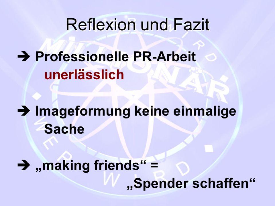 Reflexion und Fazit  Professionelle PR-Arbeit unerlässlich