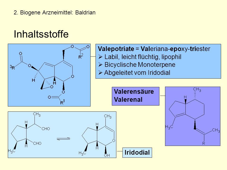 2. Biogene Arzneimittel: Baldrian Inhaltsstoffe