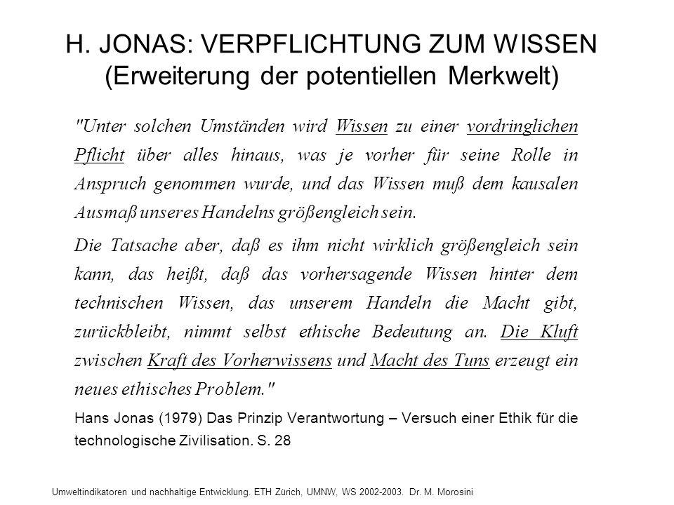 H. JONAS: VERPFLICHTUNG ZUM WISSEN (Erweiterung der potentiellen Merkwelt)