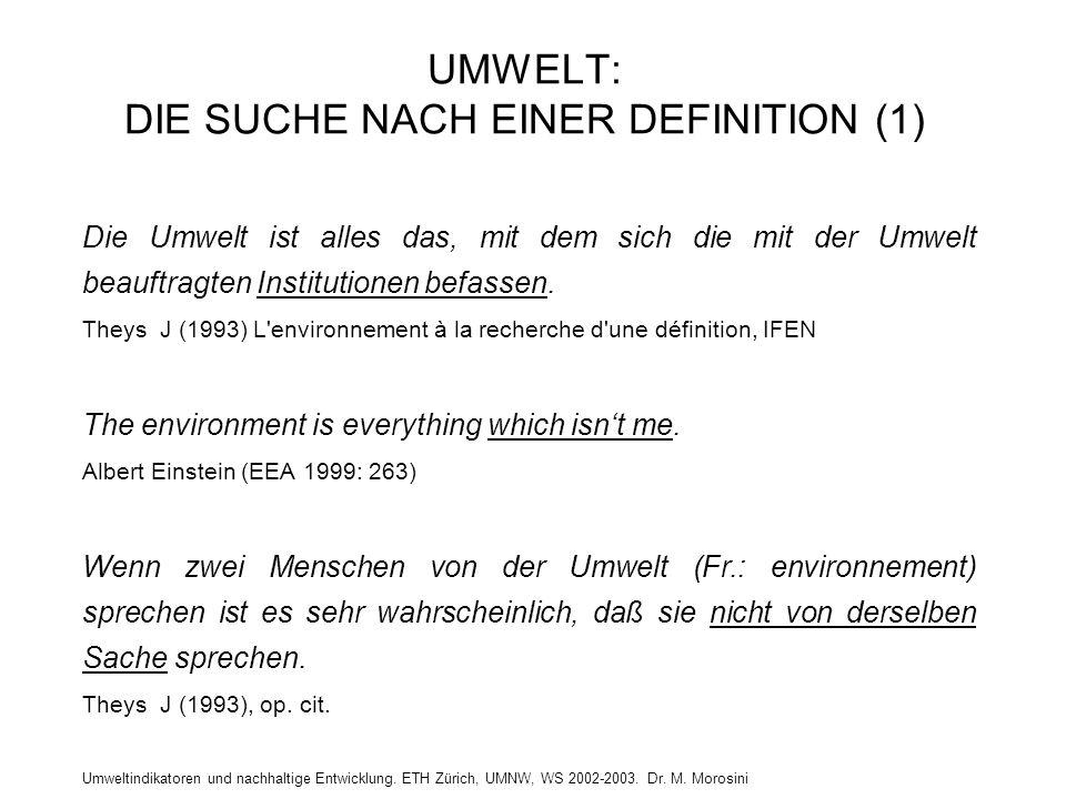 UMWELT: DIE SUCHE NACH EINER DEFINITION (1)
