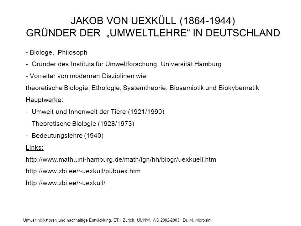 """JAKOB VON UEXKÜLL (1864-1944) GRÜNDER DER """"UMWELTLEHRE IN DEUTSCHLAND"""