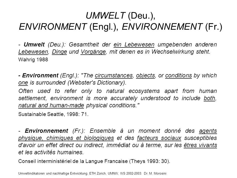 UMWELT (Deu.), ENVIRONMENT (Engl.), ENVIRONNEMENT (Fr.)