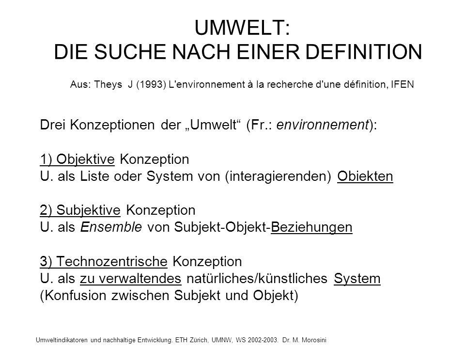 UMWELT: DIE SUCHE NACH EINER DEFINITION Aus: Theys J (1993) L environnement à la recherche d une définition, IFEN