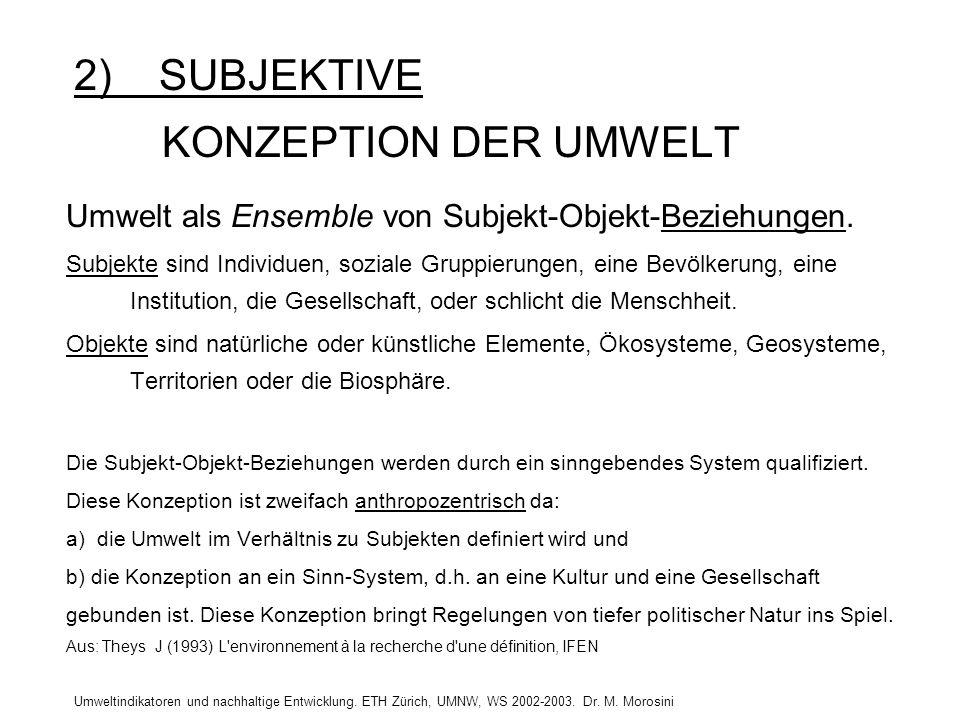2) SUBJEKTIVE KONZEPTION DER UMWELT