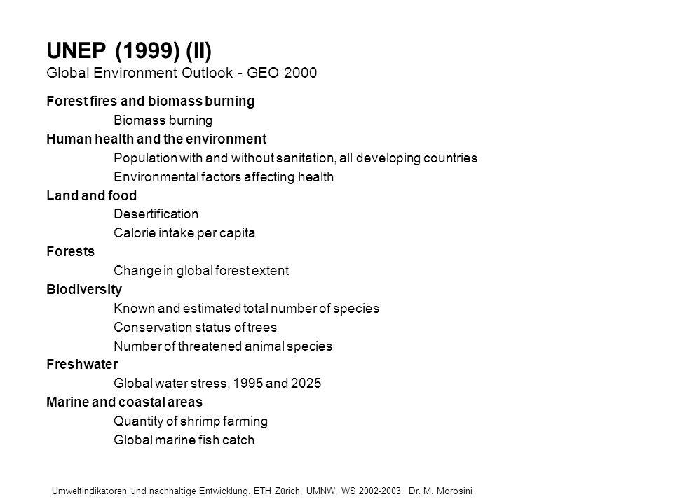 UNEP (1999) (II) Global Environment Outlook - GEO 2000